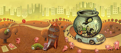 Fish Circus - Landscape Poster by Luis Diaz