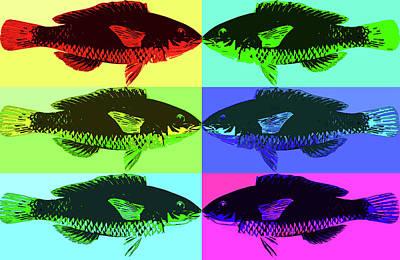 Poster featuring the digital art Fish Dinner Pop Art by Nancy Merkle