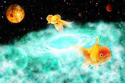 Poster featuring the digital art Zen Fish Dream by Olga Hamilton
