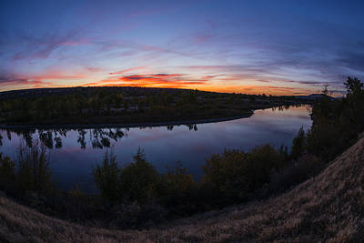 Fish Eye View Of Boise River Sunset In Boise Idaho Poster