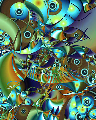 Poster featuring the digital art Fish Fiesta by Lynda Lehmann