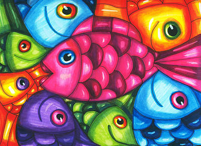 Fish Friends Poster by Elizavella Bowers
