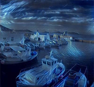 Fish Harbour Paros Island Greece Poster