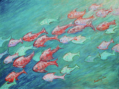 Poster featuring the painting Fish In Abundance by Xueling Zou