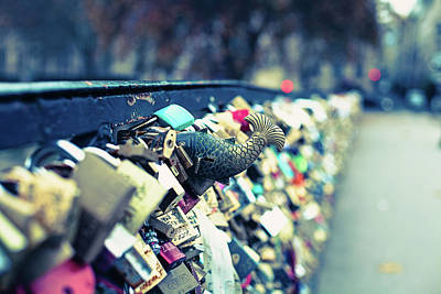 Fish Out Of Water - Pont Des Arts Love Locks - Paris Photography Poster