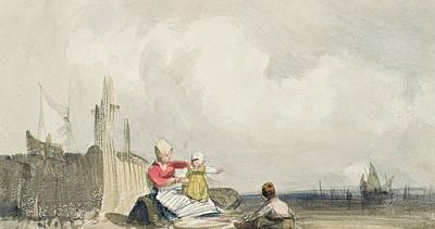 Fisherfolk On The Beach Poster by Richard Parkes Bonington