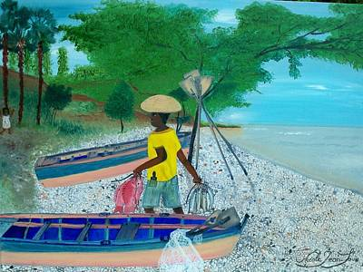 Poster featuring the painting Fisherman Returning Home by Nicole Jean-louis