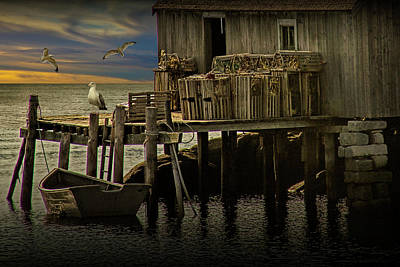 Fisherman's Wharf With Gulls At Peggy's Cove Poster by Randall Nyhof