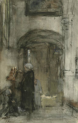 Fisherman's Woman With Her Daughter As Bride Lights A Candle At Church Poster by Jacob Maris