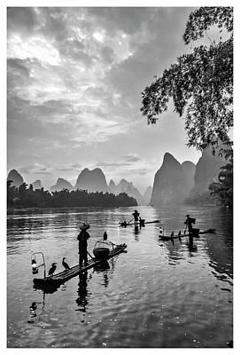 Fishermen At Dawn. Poster