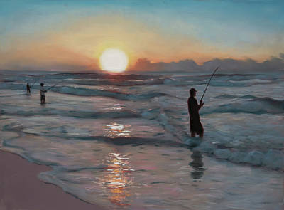 Fishermen At Sunrise Poster