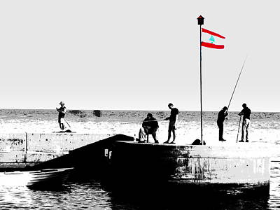 Fishermen In Beirut Poster by Funkpix Photo Hunter