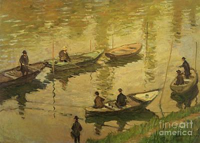 Fishermen On Seine Poster by Claude Monet