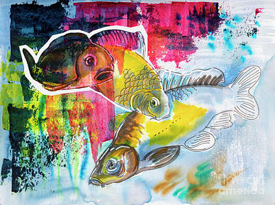 Poster featuring the painting Fishes In Water, Original Painting by Ariadna De Raadt