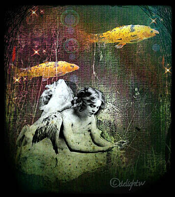 Poster featuring the digital art Fishes Wings by Delight Worthyn