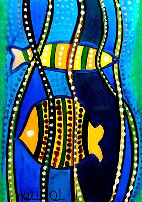 Poster featuring the painting Fishes With Seaweed - Art By Dora Hathazi Mendes by Dora Hathazi Mendes