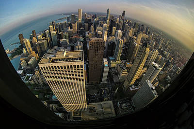 Fisheye View Of Dowtown Chicago From Above  Poster by Sven Brogren