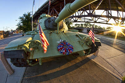 Fisheye View Of Tank As A Memorial To Veterans Poster