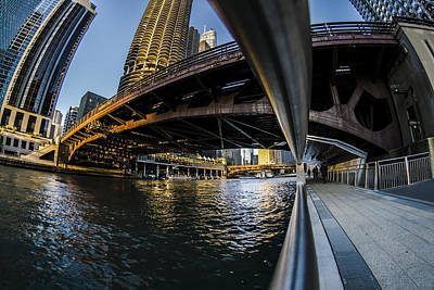 Fisheye View From The Chicago Riverwalk Poster
