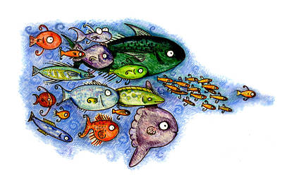 Fishies Poster by Kirsten Carlson