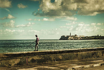 Poster featuring the photograph Fishing Along The Malecon by Lou Novick