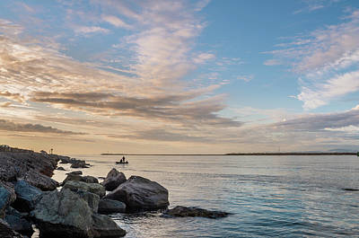 Poster featuring the photograph Fishing Along The South Jetty by Greg Nyquist