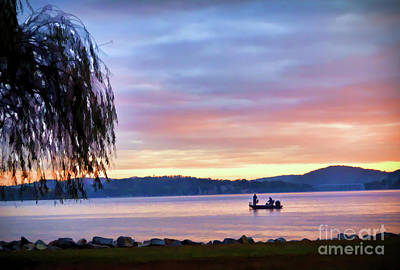 Poster featuring the photograph Fishing At Sunrise - Claytor Lake State Park by Kerri Farley