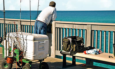 Fishing At The Pier Poster