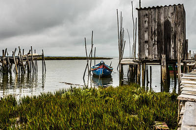 Fishing Boat And Stilt House Poster by Marco Oliveira