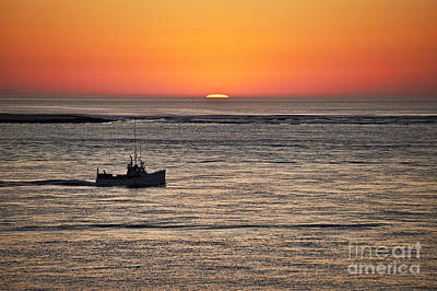 Fishing Boat At Sunrise. Poster by John Greim