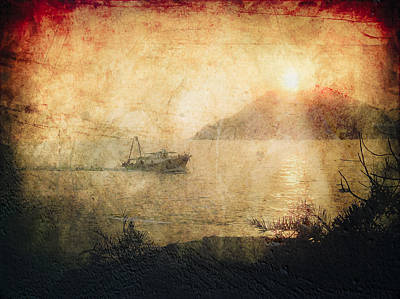 Fishing Boat At Sunset Poster by Loriental Photography