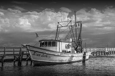 Fishing Boat Miss Ash In Black And White Poster