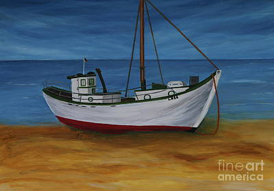 Fishing Boat On Baltic Sea Beach Poster by Christiane Schulze Art And Photography