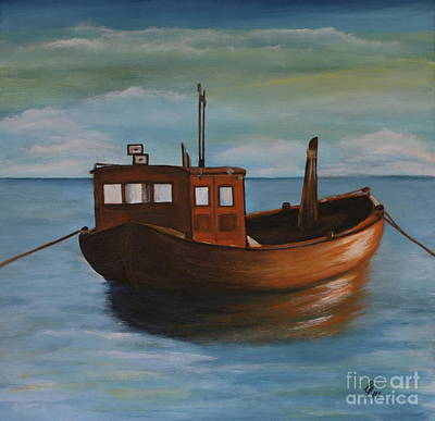 Fishing Boat On Calm Sea Poster by Christiane Schulze Art And Photography