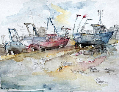 Fishing Boats At Hastings' Beach Poster