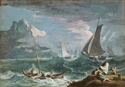 Fishing Boats In A Storm Poster