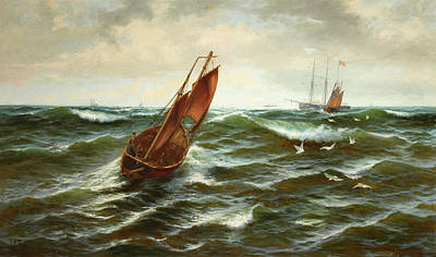 Fishing Boats In Choppy Waters Poster