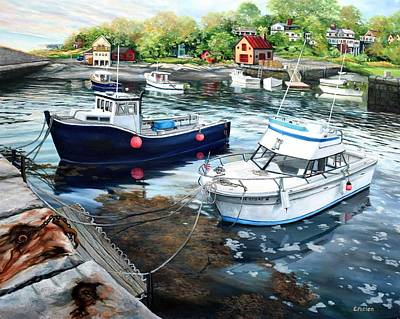 Fishing Boats In Lanes Cove Gloucester Ma Poster by Eileen Patten Oliver