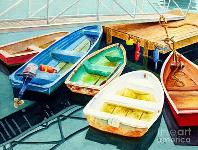 Fishing Boats Poster by Karen Fleschler
