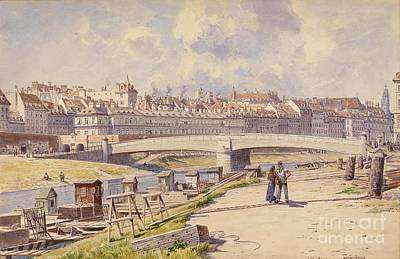 fishing boats on the Danube Canal Vienna Poster