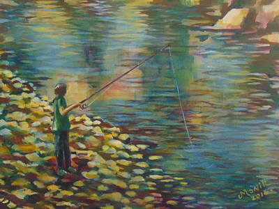 Fishing Day Poster by Monique Metivier
