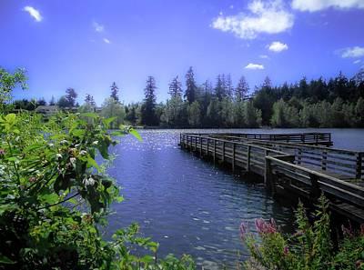 Fishing Dock, Lake Wapato Poster by Linda Chambers