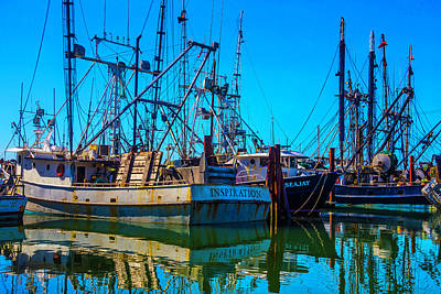 Fishing Fleet In Harbor Poster by Garry Gay