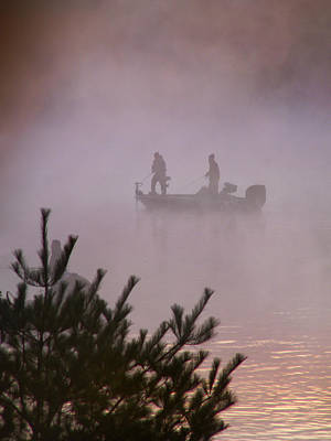 Fishing In The Morning Mist Poster