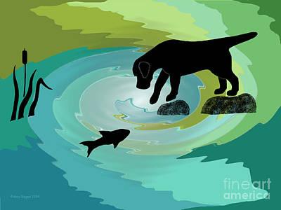 Fishing Labrador Dog Poster