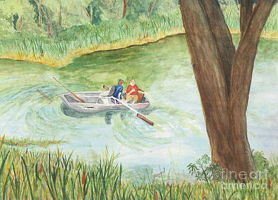 Poster featuring the painting Fishing Lake Tanko by Vicki  Housel
