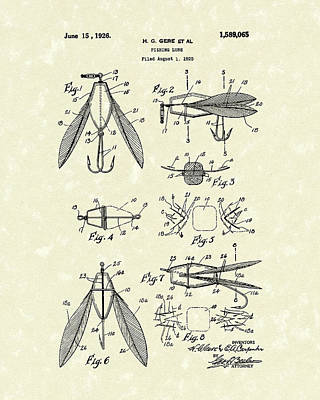 Fishing Lure 1926 Patent Art  Poster by Prior Art Design