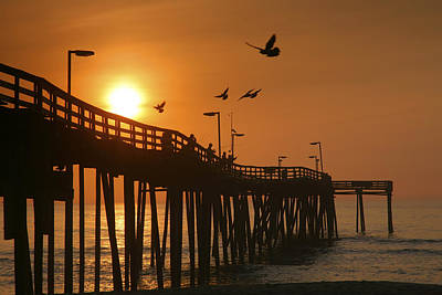 Fishing Pier At Sunrise Poster by Steven Ainsworth