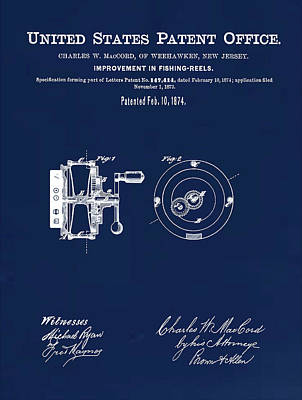 Fishing Reel Patent 1874 Blue Poster by Bill Cannon