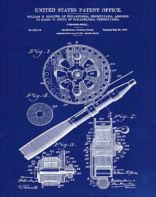 Fishing Reel Patent 1906 Blue Poster by Bill Cannon